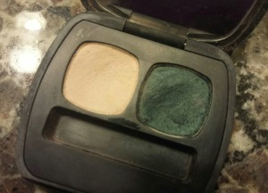 The beautiful eye shadow colors- Bare Mineral eye shadow duo in The Hollywood Ending.