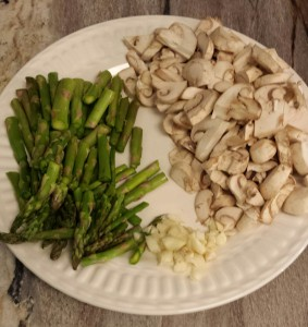 The veggies all chopped. I buy the sliced mushrooms and chop them smaller.