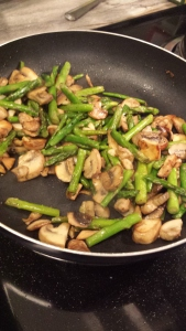 Veggies browning. Make sure to get color on the mushrooms. It brings out so much flavor when they are caramelized.